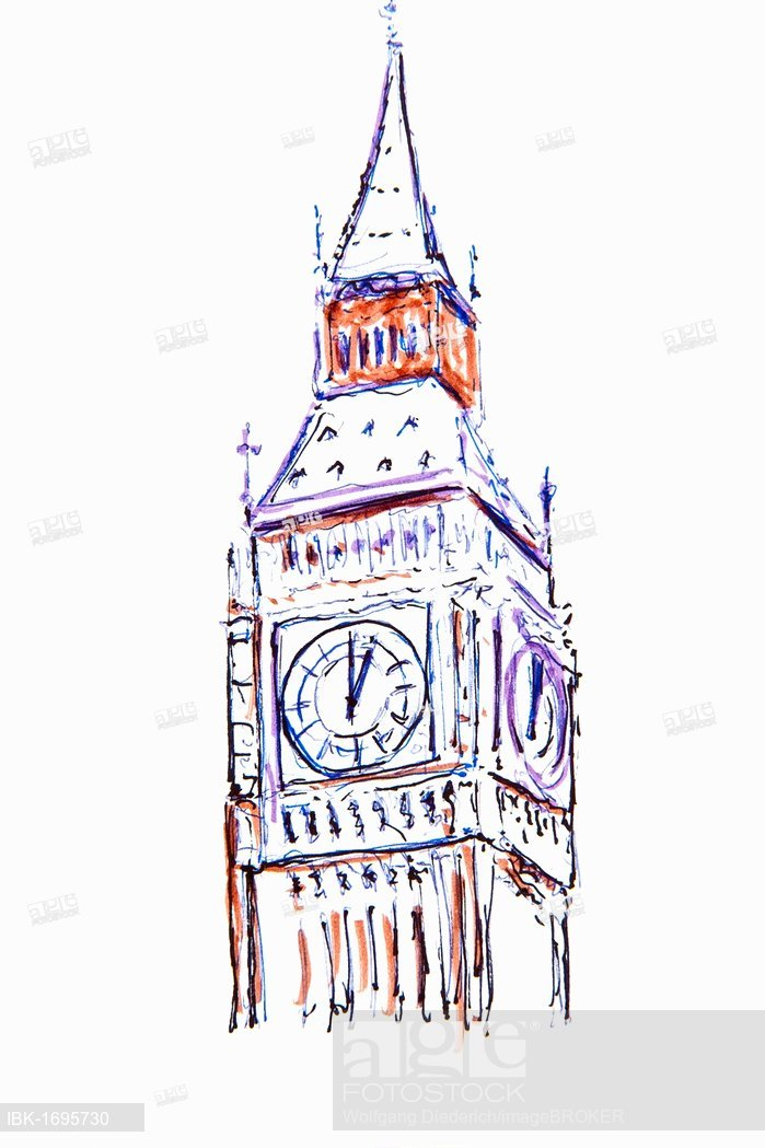 699x1049 Clock Tower, Big Ben, London, England, Great Britain, Drawing By