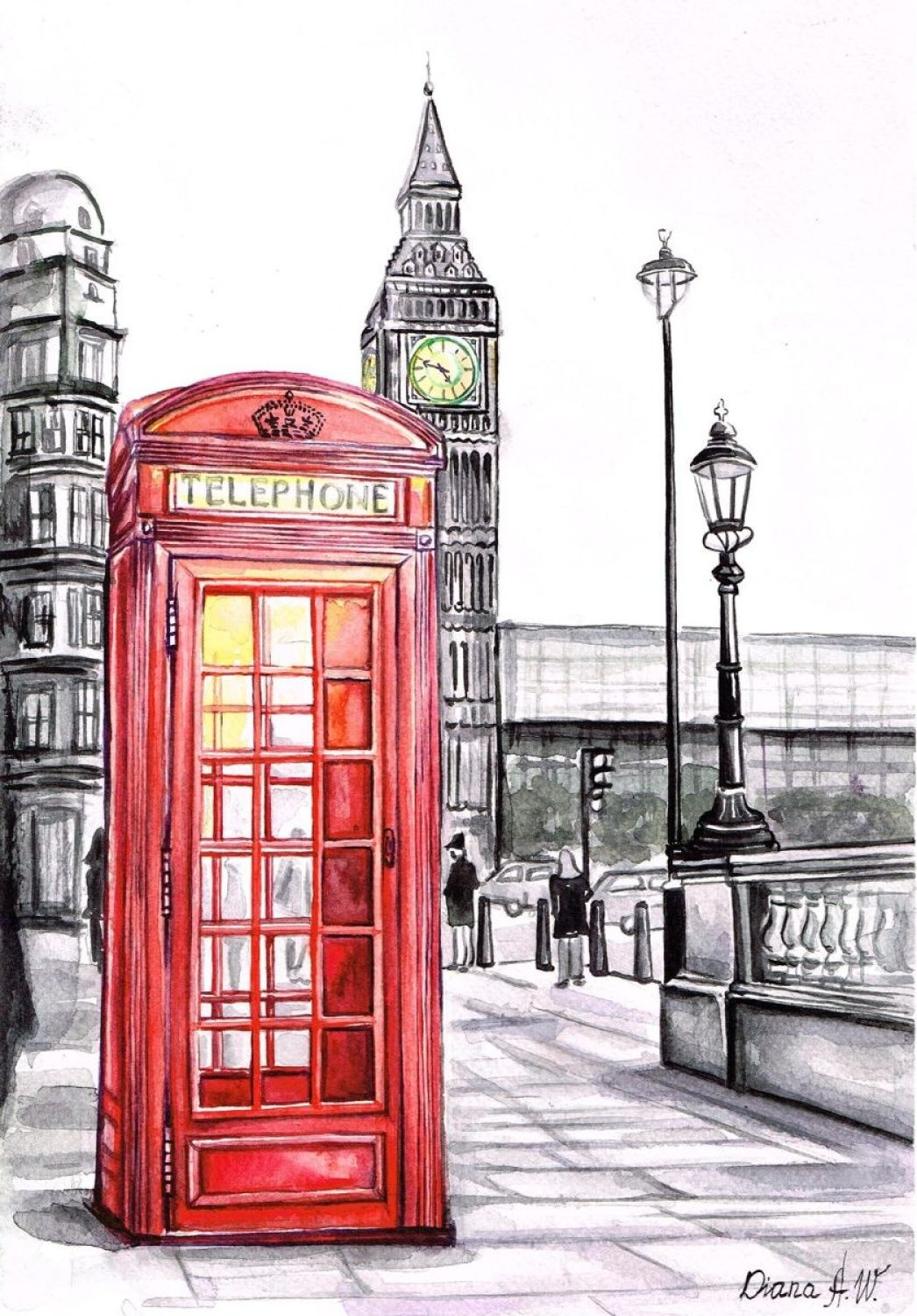 1046x1500 Diana Aleksanian Watercolor London, Red Telephone Box, Big Ben