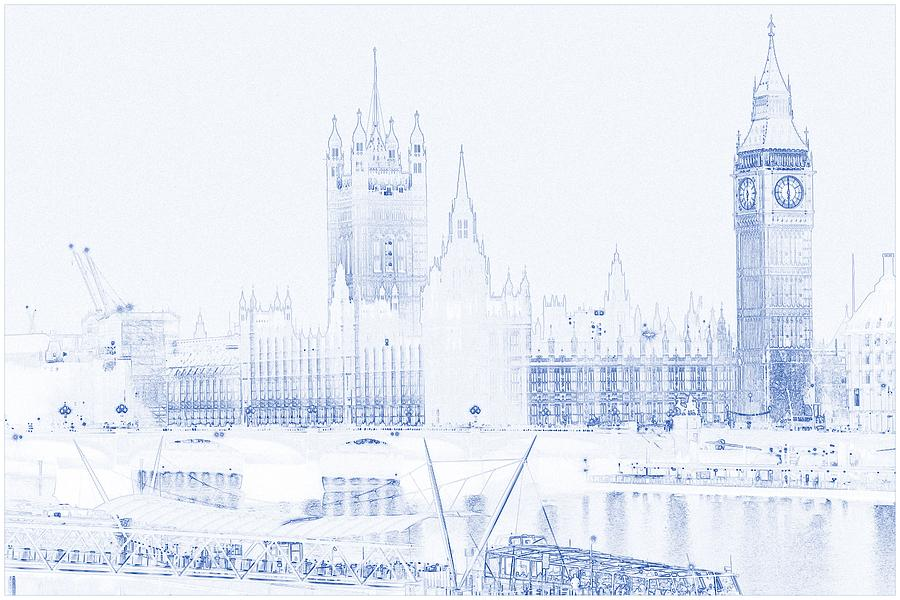 900x600 Drawing Of Modern Building 4 London Big Ben Tower Painting By