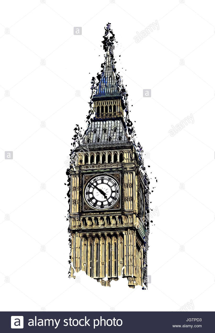 899x1390 Modern Abstract Design London Big Ben Illustration, Isolated