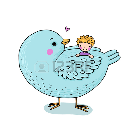 450x450 Cute Cartoon Baby And Big Bird. Hand Drawing Isolated Objects