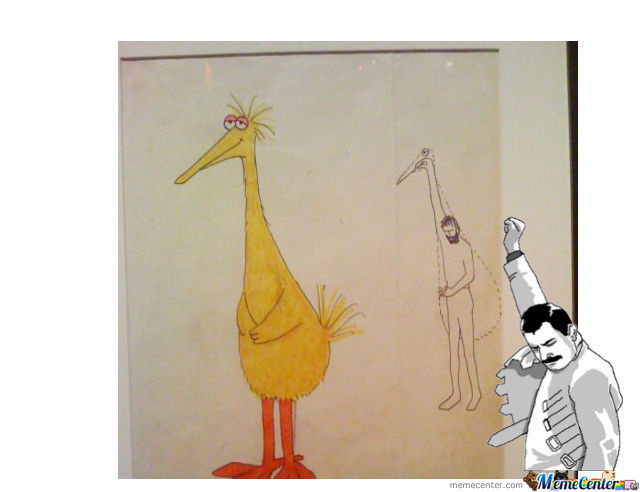 640x492 Jim Henson's First Drawing Of Big Bird (Remix From 9gag) By