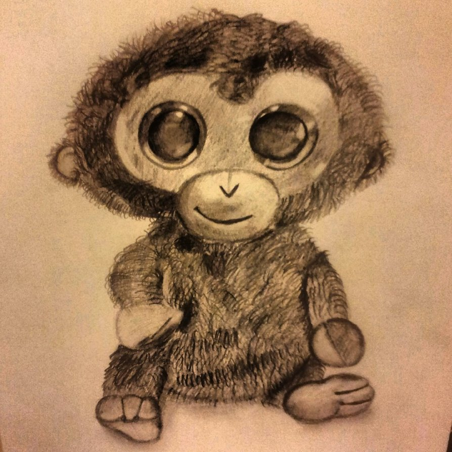 894x894 Big Eyed Monkey Toy Drawing By Paviteta