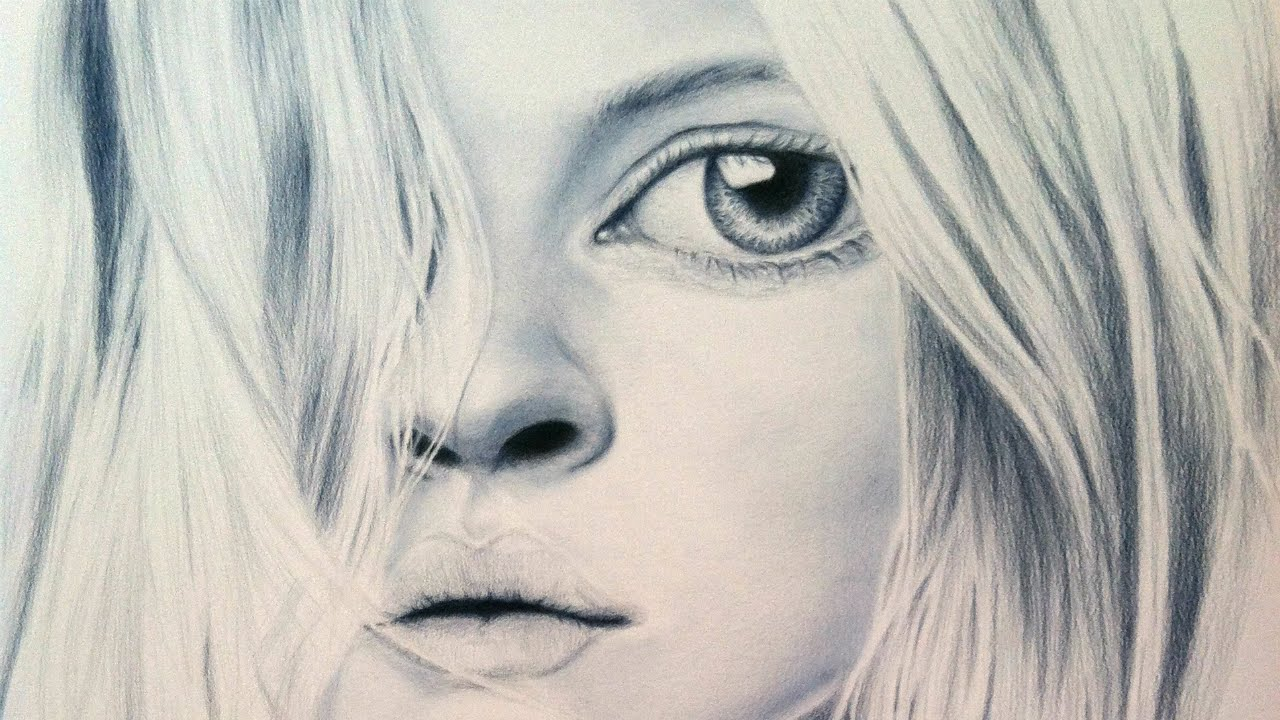 1280x720 Colored Pencil Drawing Time Lapse Big Eyed Girl Art Demo