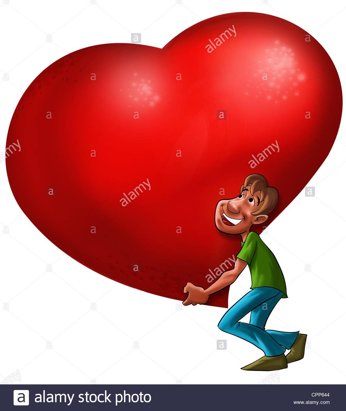 1172x1390 A Man Carrying A Big Heart Stock Photo 48430932