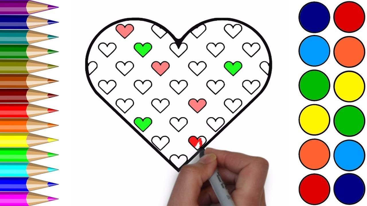 1280x720 Heart Coloring Pages How To Drawing Small Heart In The Big Heart