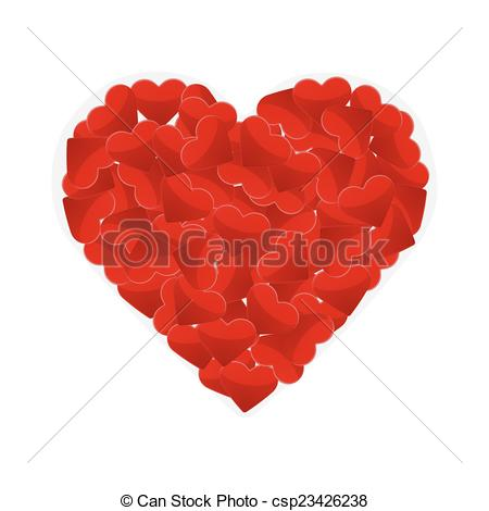 450x470 Illustration Of One Big Heart Made Of Small Hearts Vectors