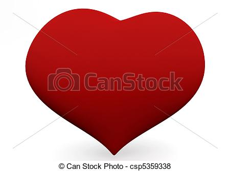 450x335 One Big Red Heart Isolated On White. 3d Love Concepts. Stock