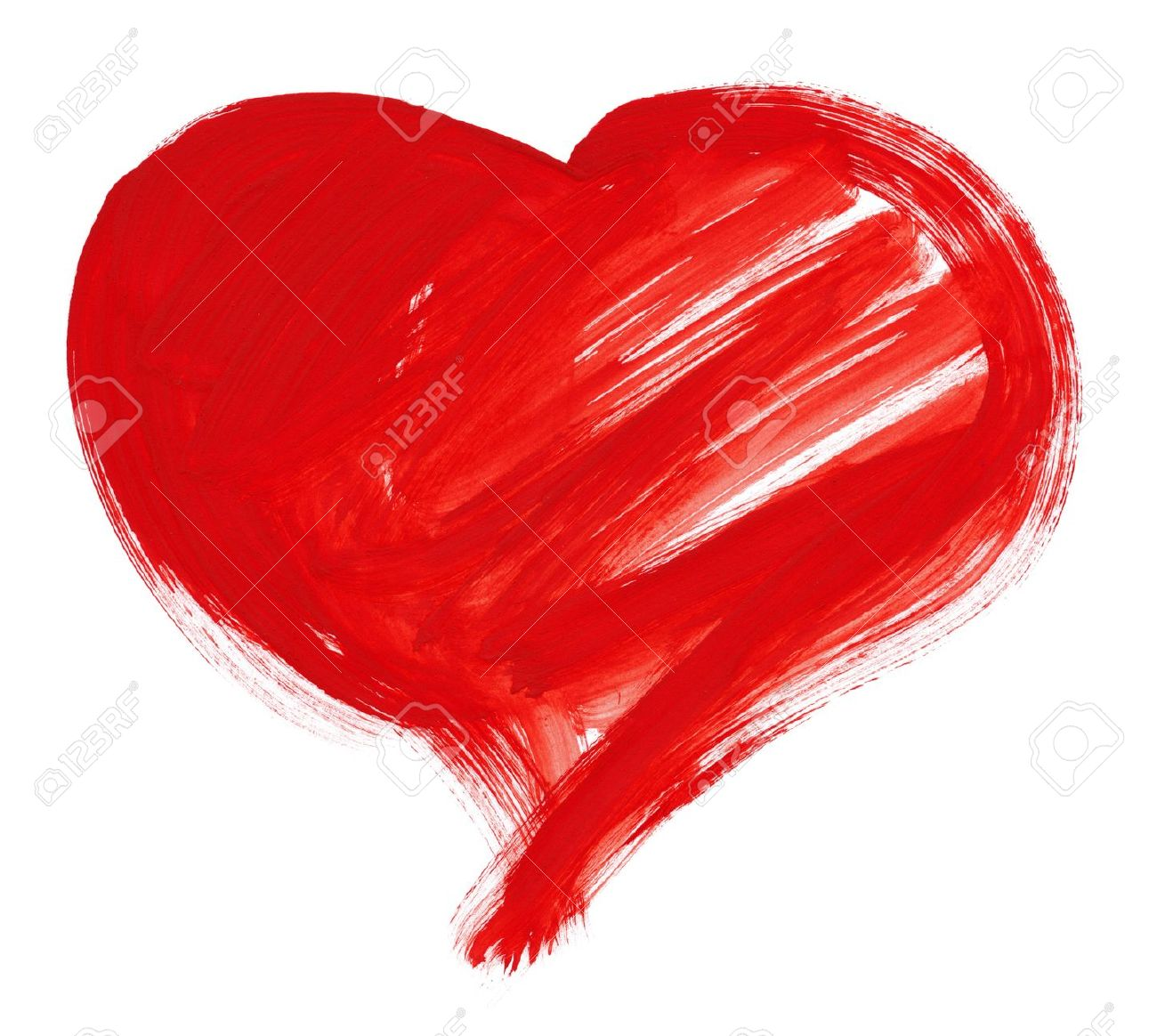 1300x1164 Red Big Heart Shape. Watercolor Drawing Stock Photo, Picture