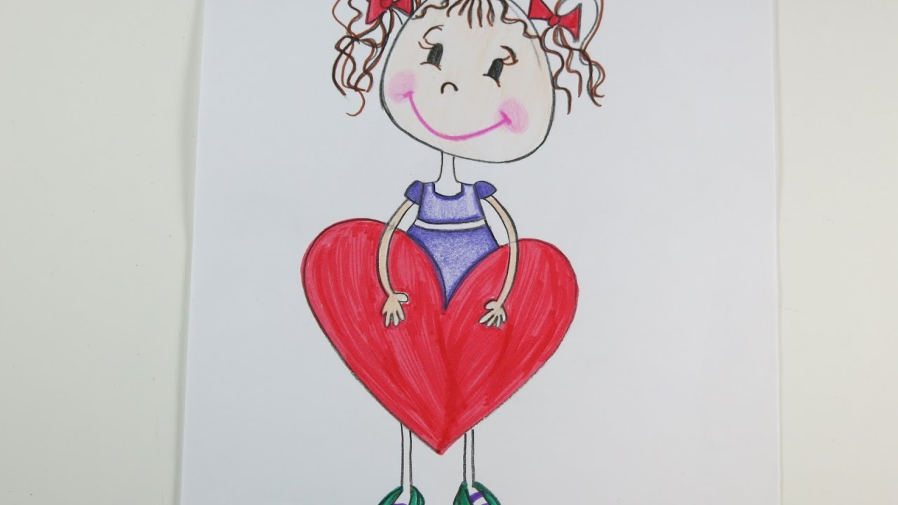 1280x720 Valentine's Day Diy Drawing A Girl With A Big Heart