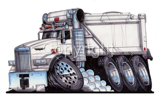 512x328 Semi Big Rig Kenworth Dump Truck Cartoon Mens T Shirt