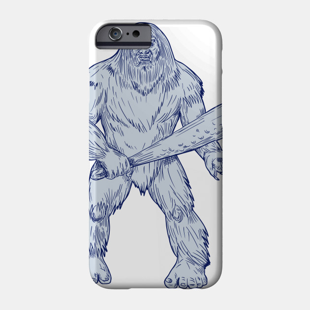 630x630 Bigfoot Holding Club Standing Drawing