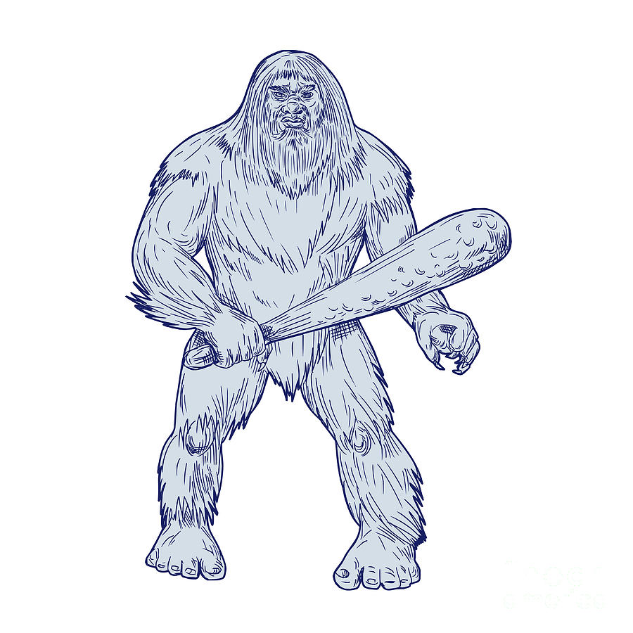 900x900 Bigfoot Holding Club Standing Drawing Digital Art By Aloysius