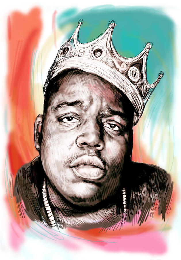 629x900 Biggie Smalls Colour Drawing Art Poster Painting By Kim Wang