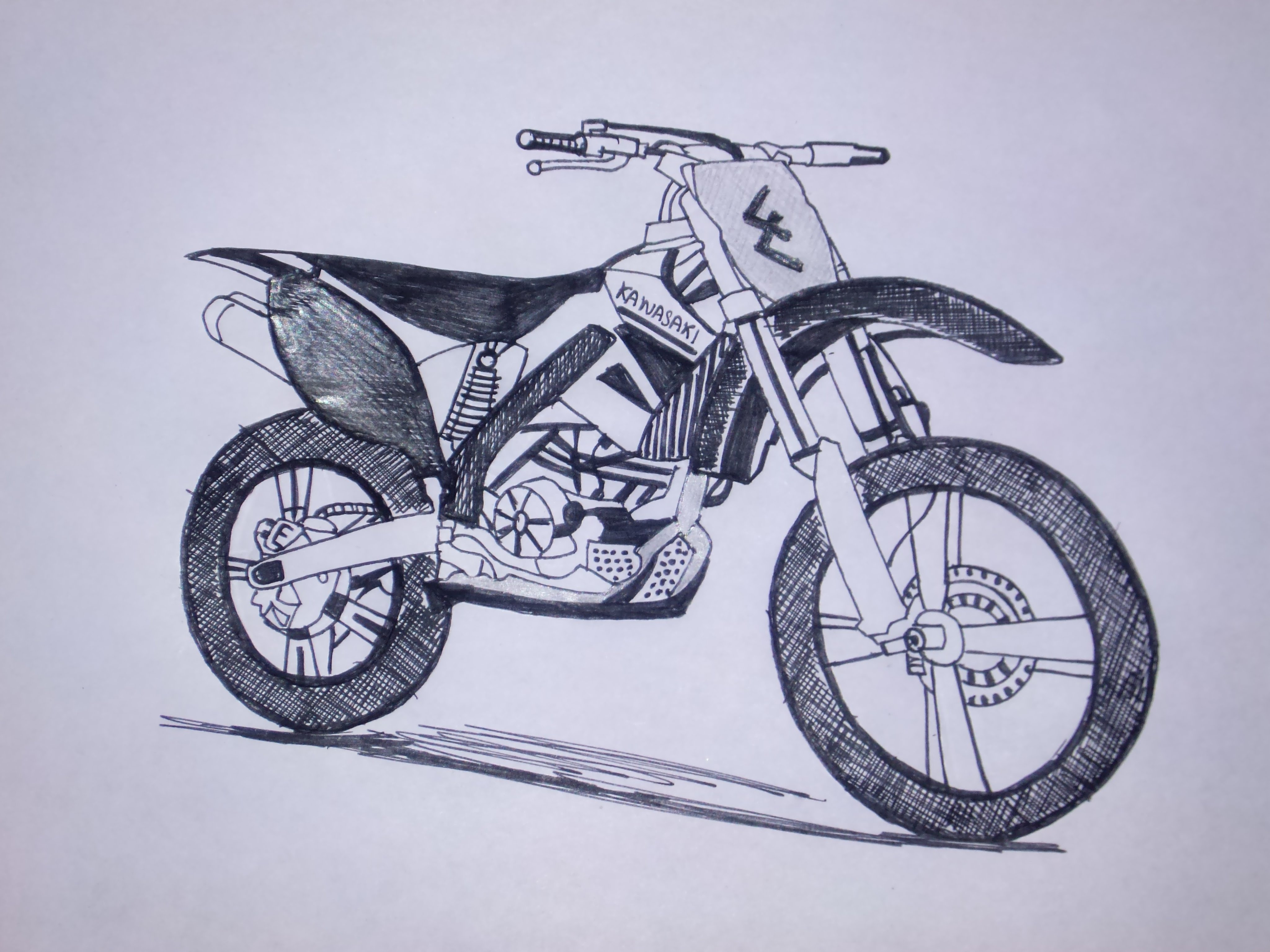 4096x3072 Kawasaki Dirt Bike Drawing Pen Sketch