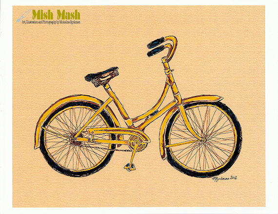 570x440 Bike Drawing, Vintage Bicycle, Art Print, Affordable Wall Hanging