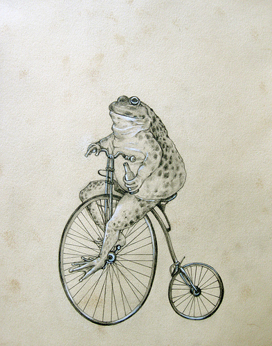 393x500 Mr. Toad Rides A Penny Farthing Ordinary Bike Drawing Tatts