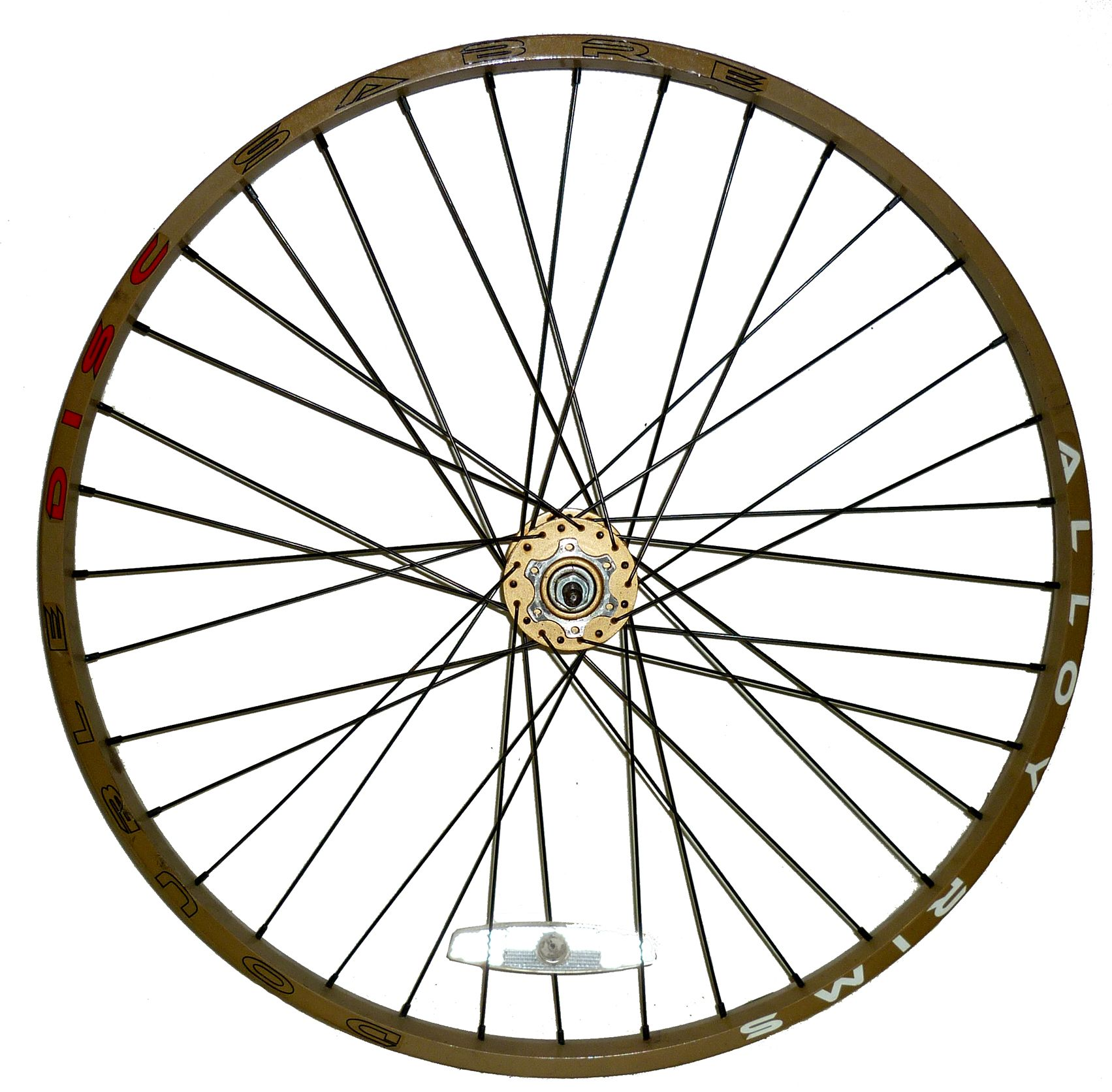 1703x1672 Saber 26 Front Mountain Bike Wheel Gold Disc Brake Black Spokes