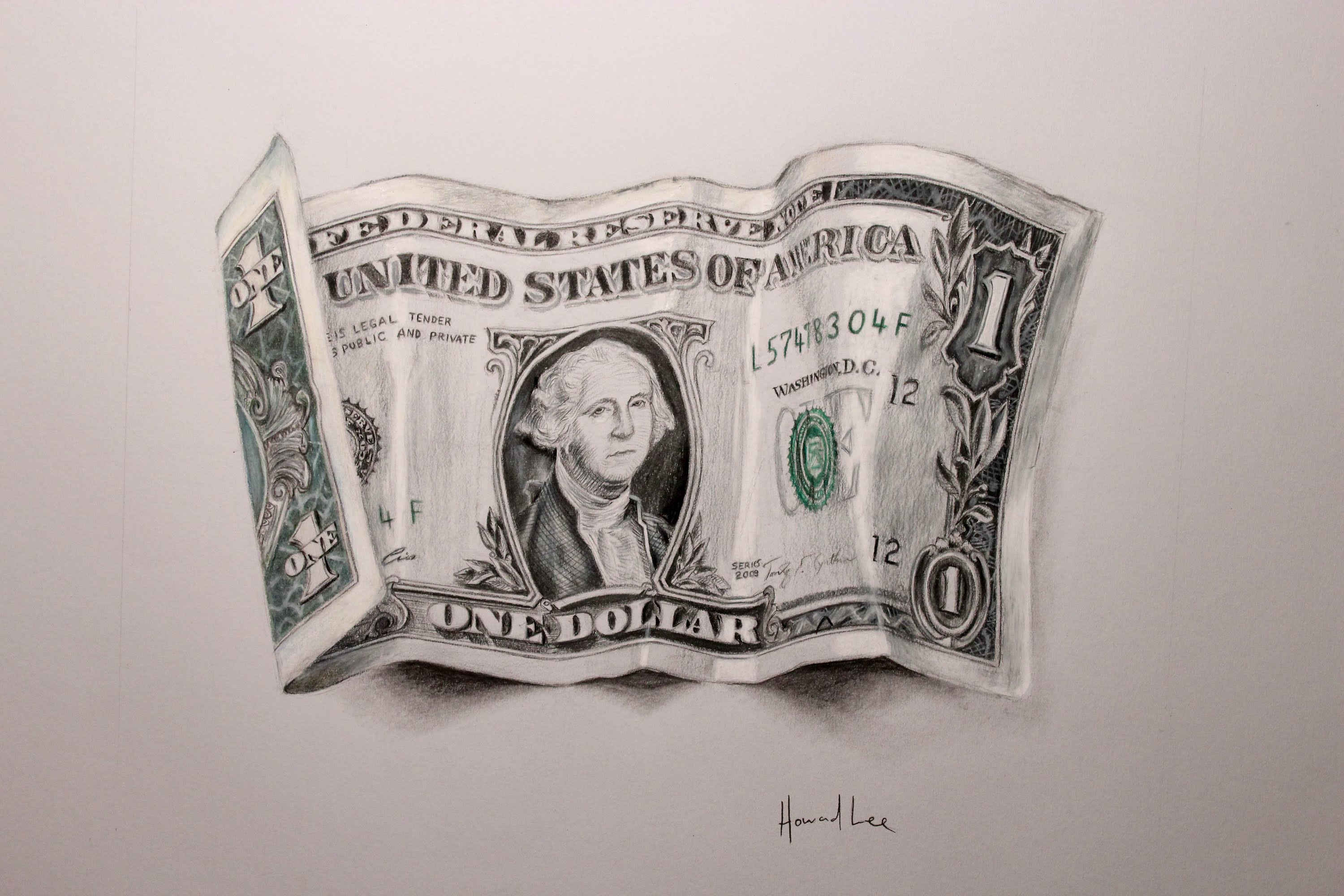 3000x2000 Drawing Time Lapse One Dollar Bill