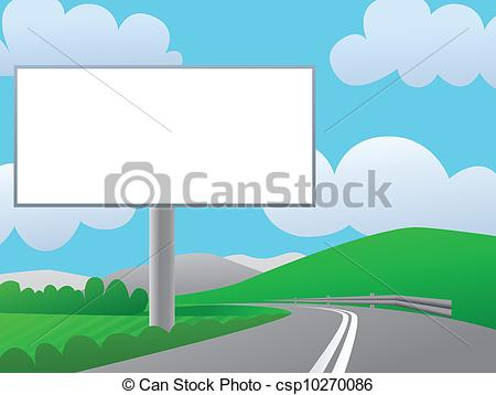 450x358 Advertising Billboard On Country Road. Stock Illustration