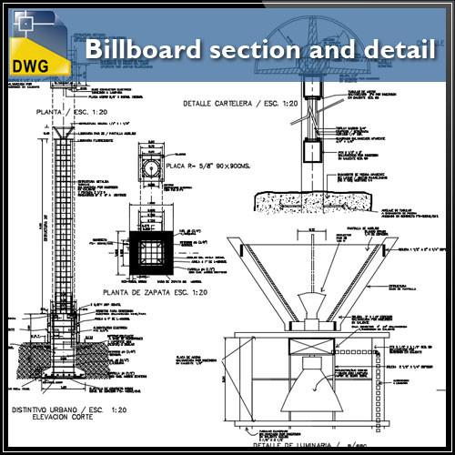 500x500 Billboard Section And Detail In Autocad Dwg Files Cad Design