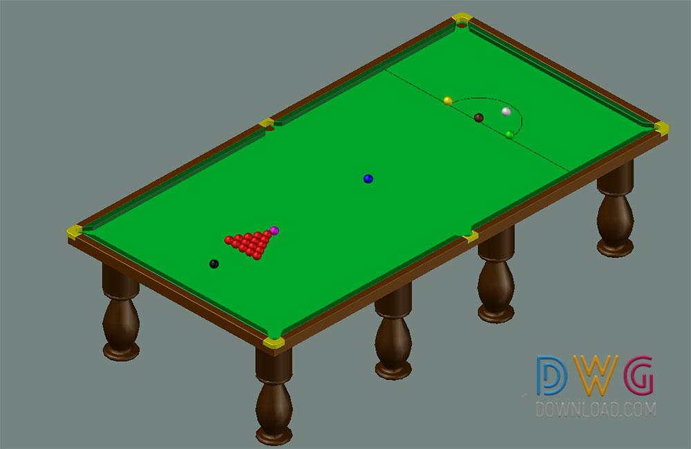 1000x650 3d Billiards Table Dwg Download Sports Dwg, Billiard Dwg, Billiard