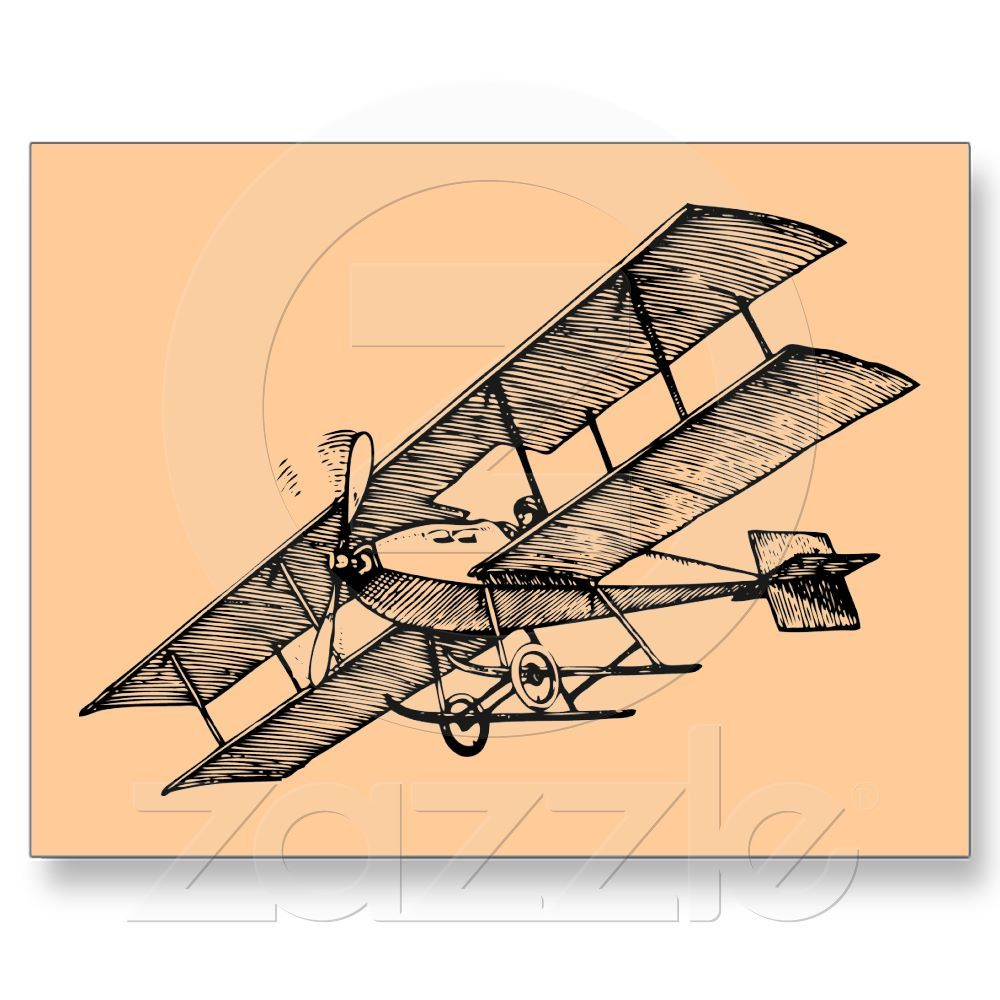 1000x1000 Biplane Aircraft ~ 1900s Vintage Airplane Postcard Vintage