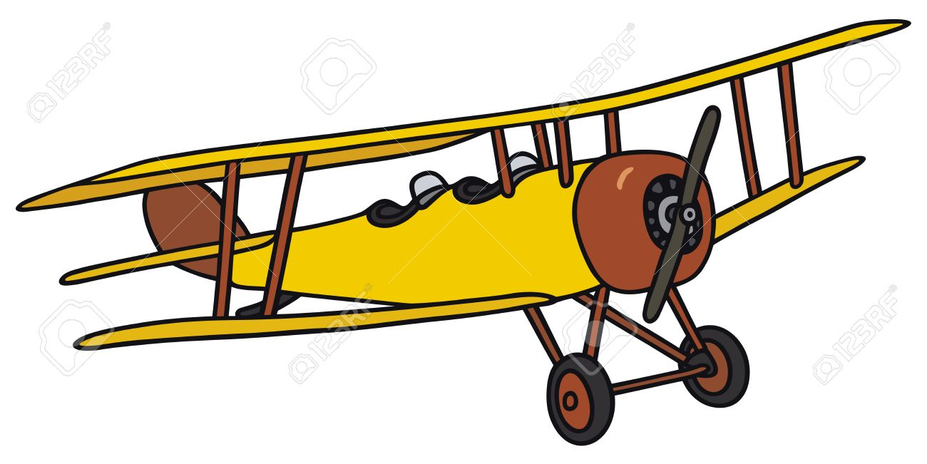 1300x651 Hand Drawing Of An Old Yellow Biplane