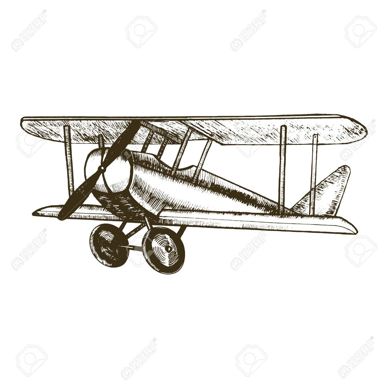 1300x1300 Retro Plane Hand Draw Sketch Vintage Biplane With Propeller Can