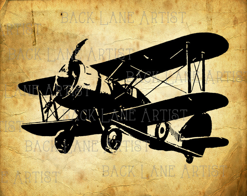 800x635 Vintage Biplane Airplane Clipart Lineart Illustration Instant