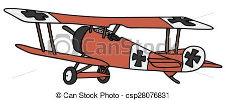 450x200 Vintage Germany Biplane. Hand Drawing Of A Vintage Red Vectors