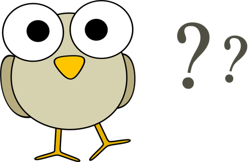 500x326 Vector Drawing Of Funny Grey Cartoon Bird With Big Eyes And Some