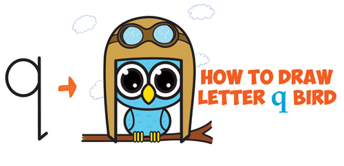 500x242 How To Draw Cute Cartoon Birds Owls From Lowercase Letter Q