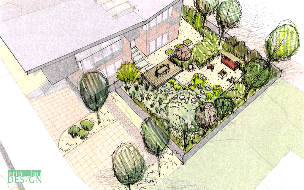 1024x640 Bird's Eye View Of Back Yard With Rain Garden And Seating Areas