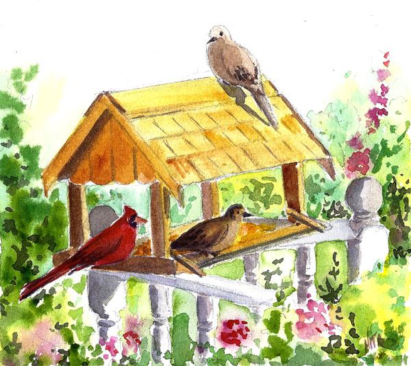600x534 Nita Casey Drawing And David's Bird Feeder.