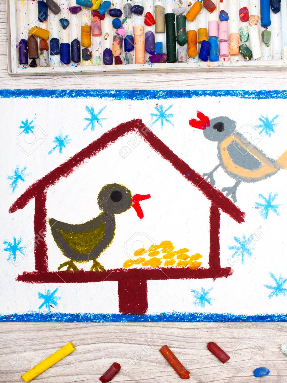 975x1300 Photo Of Colorful Drawing Bird Feeder, Winter And Two Cute Birds