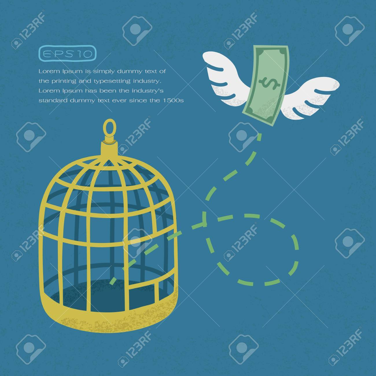 1300x1300 Money Flying Out Of Cage Birds , Financial Independence , Eps10
