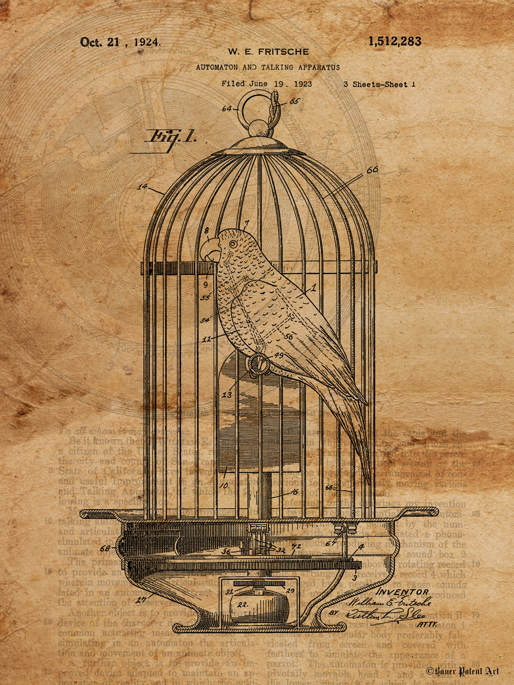 1000x1333 Patent Art Drawing Of Mechanical Bird In Birdcage