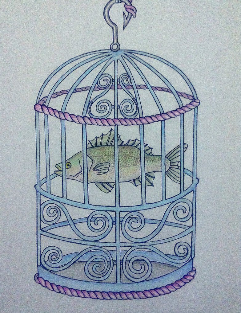783x1019 Weird Drawing Of A Fish In A Bird Cage. By Redfoxrox