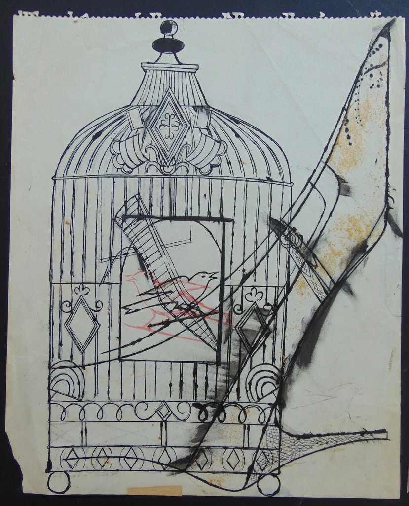 829x1024 Andy Warhol Bird In A Cage And Shoe (1956) Available For Sale