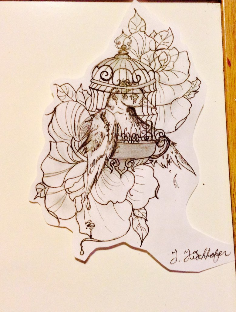 778x1026 Big Bird In A Small Cage Tattoo Design By J3lly Gh0st