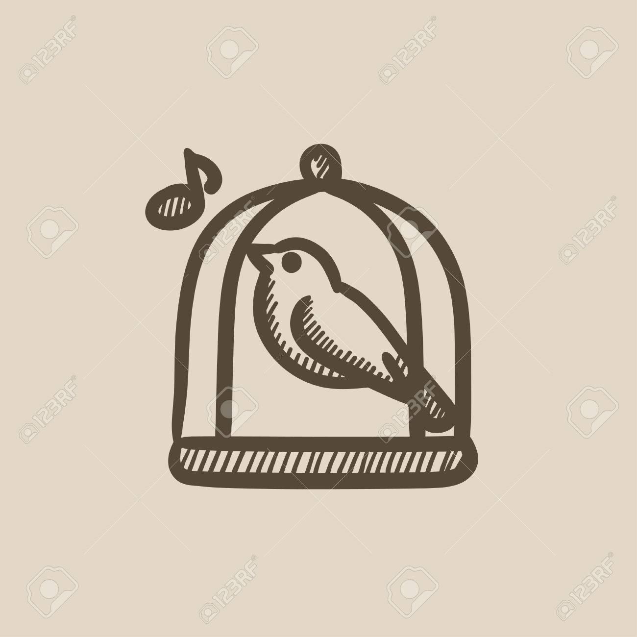 1300x1300 Bird Singing In Cage Vector Sketch Icon Isolated On Background