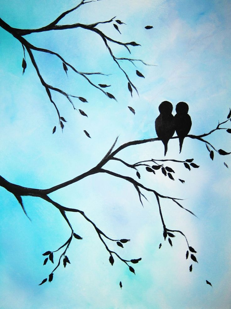 736x985 Large Abstract Painting Art Love Birds In Tree Modern Contemporary