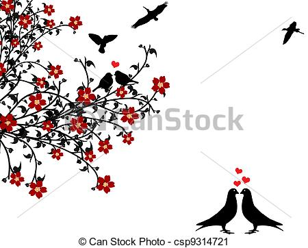 450x362 Love Birds. Birds In Love Sitting On A Flowering Tree On Vector