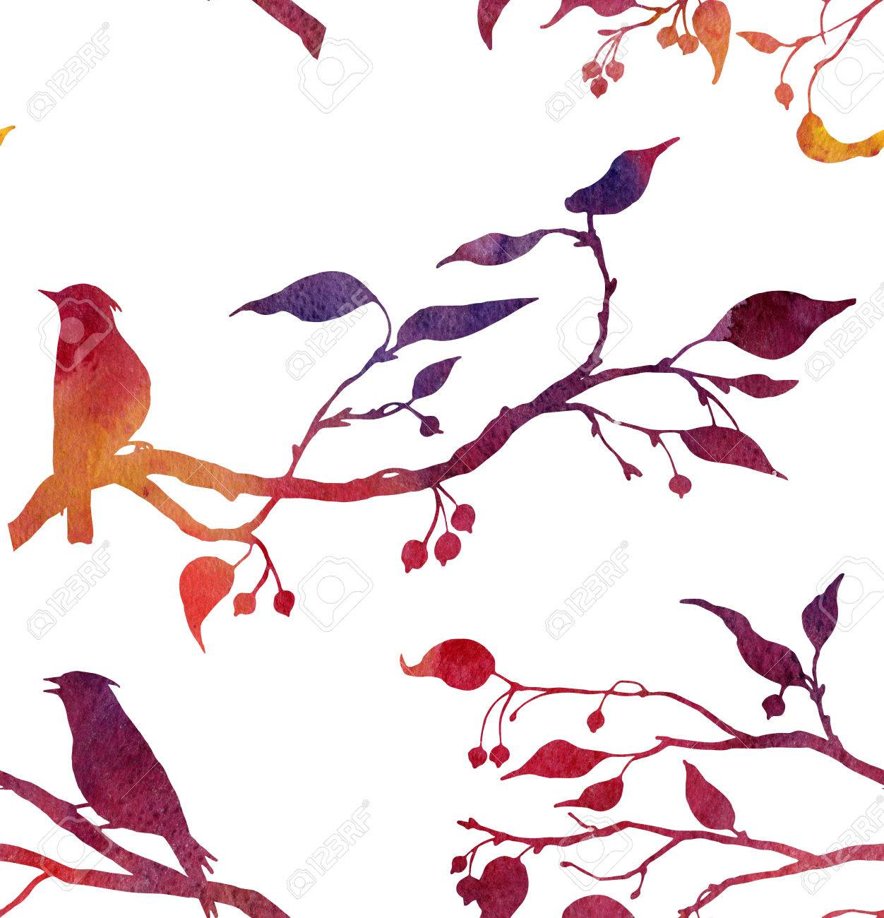 1252x1300 Seamless Pattern With Silhouettes Of Birds At Tree Drawing