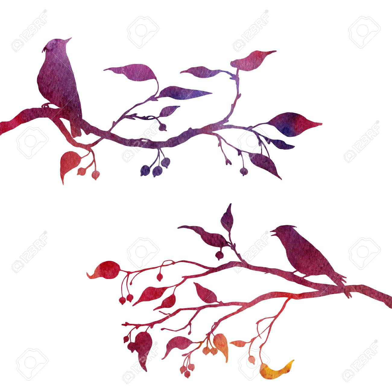 1300x1300 Silhouettes Of Birds At Tree Drawing In Watercolor, Hand Drawn