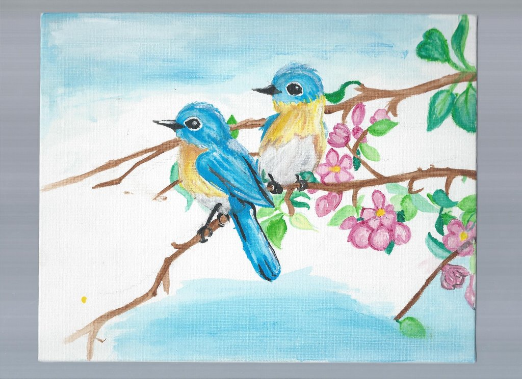 1024x745 Birds A Branch Wip Painting By Drawing Heart