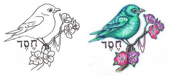 600x261 Freebies Bird Branch Tattoo Design By Tattoosavage