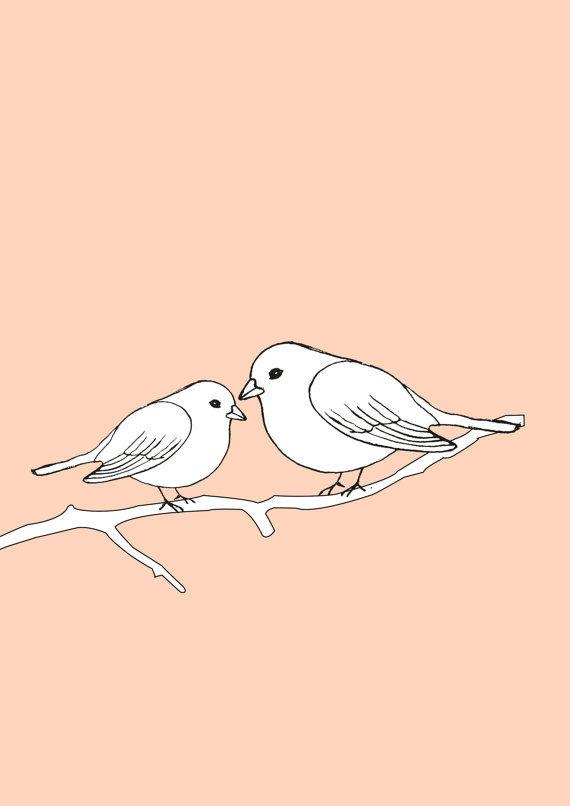 570x806 Two Love Birds On A Branch Original Art Pen Sketch A3 Poster Print