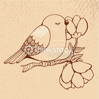 414x414 Vector Art Cute Bird Sitting On A Blooming Branch Of Tree